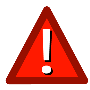 Red triangle alert icon